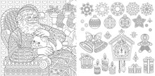 Christmas Ornaments Set. New Year Coloring Page With Santa Claus