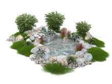 Decorative Pond On A White Background