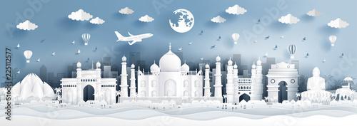 Panoramy pocztówka światowi sławni punkty zwrotni India w papieru cięcia stylu wektoru ilustraci.