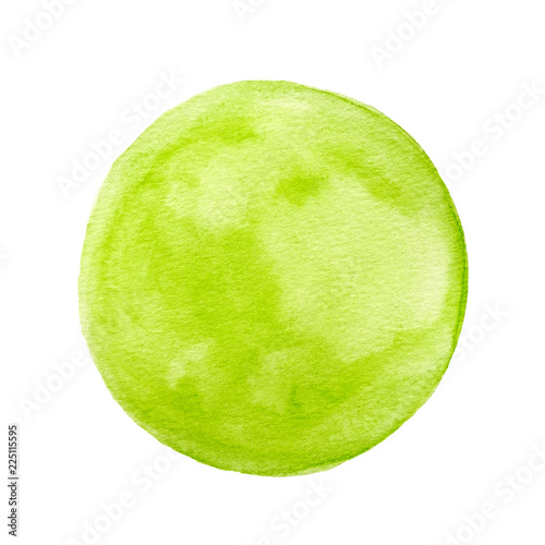 In de dag Bol Illustration art design background, Green circle shape watercolor painting textured on white paper isolated on white background
