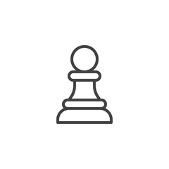 Chess pawn outline icon. linear style sign for mobile concept and web design. chess piece simple line vector icon. Symbol, logo illustration. Pixel perfect vector graphics