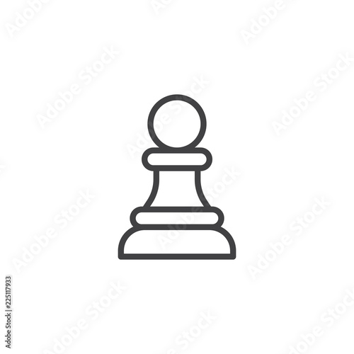 Fototapeta Chess pawn outline icon