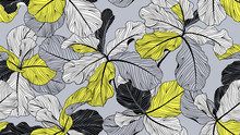 Floral Seamless Pattern, Fiddle Leaf Fig On Grey Background, Line Art Ink Drawing, Yellow And Black Tones
