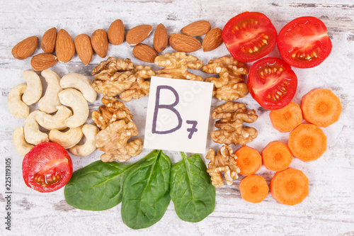 Nutritious products containing vitamin B7 and dietary fiber, healthy nutrition