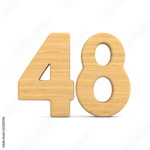 Number fourty eight on white background. Isolated 3D illustration Canvas Print