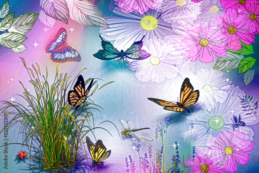 Abstract image: butterflies and flowers. 3D rendering.