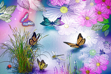 Naklejka 3D Abstract image: butterflies and flowers. 3D rendering.