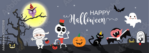 Happy Halloween greetings template vector. Vector illustration. Slika na platnu