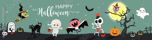 Happy Halloween greetings template vector. Vector illustration. Canvas Print