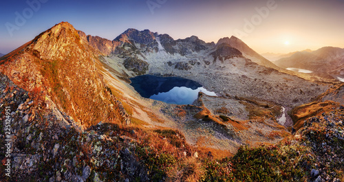Obraz Mountain landcape panorama at summer with lake in Tatras, Poland - fototapety do salonu