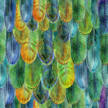 Feather Seamless Pattern, Watercolor Bird Wing Illustration.