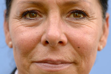 Extreme Close Up On Adult Womans Face With Vignette Blur