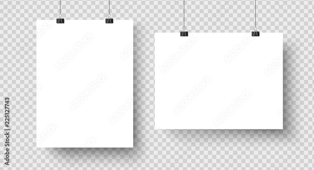 Fototapeta White blank posters hanging on binders. A4 paper page, sheet on wall. Vector mockup