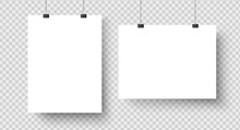 White Blank Posters Hanging On Binders. A4 Paper Page, Sheet On Wall. Vector Mockup