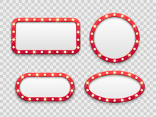 Marquee Light Frames. Vintage Round And Rectangular Cinema And Casino Empty Red Signs With Bulbs. Vector Isolated Set