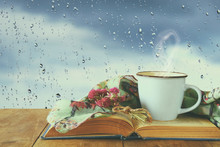 Coffee Cup On A Rainy Day Over...