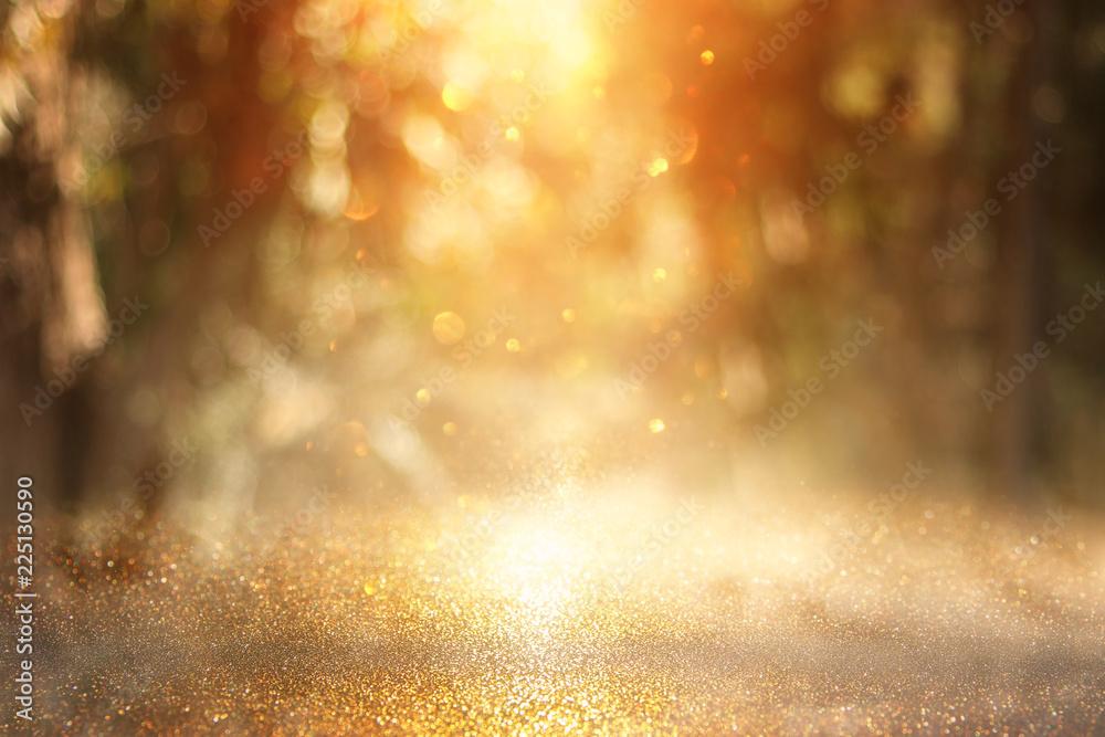 Fototapety, obrazy: blurred abstract photo of light burst among trees and glitter golden bokeh lights.