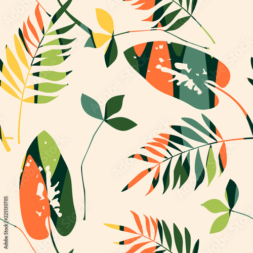 Poster Kunstmatig Abstract seamless pattern with leaves. Vector background for various surface.