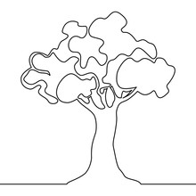 Tree Logo Continuous One Line ...