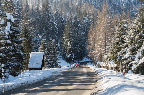 Winter road with snow in Koscielisko valley - Tatra Mountains