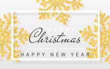 Christmas Background With Shining Yellow Snowflakes And White Frame. Merry Christmas And Happy New Year Card. Vector Illustration