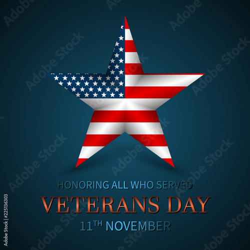 Fotografía  Veterans Day of USA with star in national flag colors american flag
