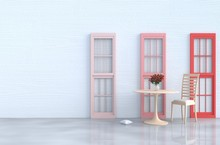 White Living Room Decor With Wood Chair, Red And Pink Window, White Wood Wall, Window, Pillow, Table, Grey White  Cement Floor, Red Rose, Vase. Valentine's Day Of Love. 3d Render.