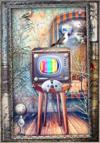 Fotobehang Imagination Inside room with vintage and steampunk television series