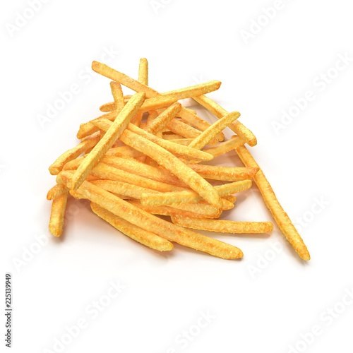 Fotografía  Pile Of French Fries Isolated On White Background