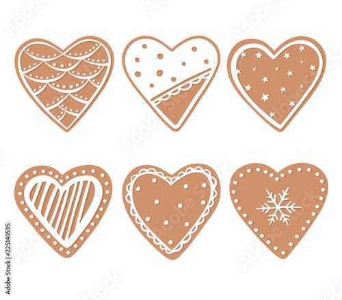 Fototapeta Gingerbread cookies set isolated on white background. Xmas glazed chokolate hearts obraz