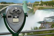 Tourist Binocular Viewer In Niagara Falls From New York State, USA