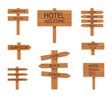 Vector Camping Wooden Signs Co...