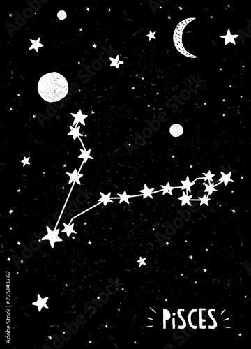 Pisces Sign Design Hand Drawn Zodiac Vector Illustration  Black