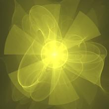 Circular Yellow Green Flower Fractal Background Wallpaper