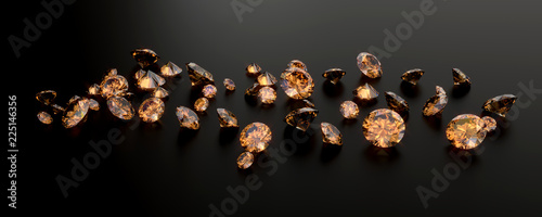 Amber Gem Diamond Group Placed On Dark Background 3D Rendering Canvas Print