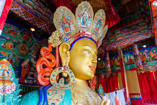 Sculpture of Maitreya buddha at Thiksey Monastery, Leh, Ladakh, Jammu and Kashmir, India