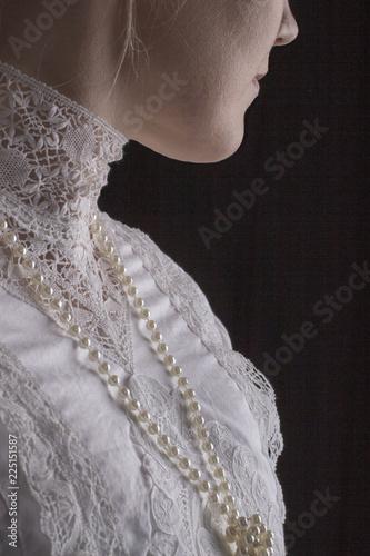 Edwardian Woman in white blouse Wall mural