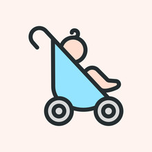 Baby Pram Carriage Minimalistic Flat Line Color Stroke Icon Pictogram Symbol