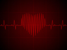 Heart Rate, Heartbeat, Neon Line, On Red Graphic Background. Realistic Style. Vector Illustration.