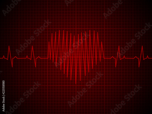 Valokuva  heart rate, heartbeat, neon line, on red graphic background