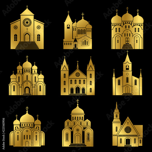 Gold church icons. Vector basilica and chapel building isolated on black background, vector illustration