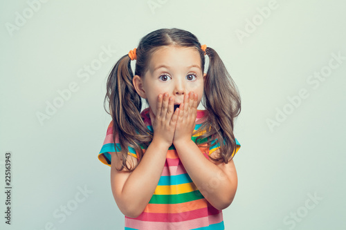 shocked or surprised beautiful cute little girl closing her mouth with hands