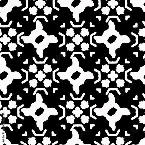 Fotografija  Monochrome White on Black Folk Art Grid Vector Pattern Seamless , Hand Drawn Tex