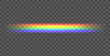 Vector Rainbow Straight Line, Shining Illustration On Dark Background, Transparent Line.