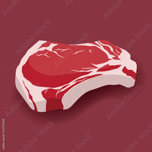 Fresh beef ribeye steak icon in flat style, marbled beef Fototapet