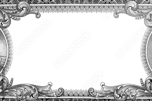 Photo  U.S. dollar border with empty middle area. black and white design