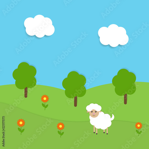 Fotobehang Lichtblauw Vector image of summer landscape with sheep and flowers