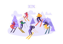 Mountain Skiing Characters In Goggles And Ski Suit. Winter Sports On Snow Landscape. Flat People Skiers Outdoor Activities. Vector Illustration