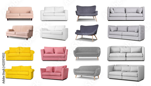 Fotografia Set with different comfortable sofas on white background