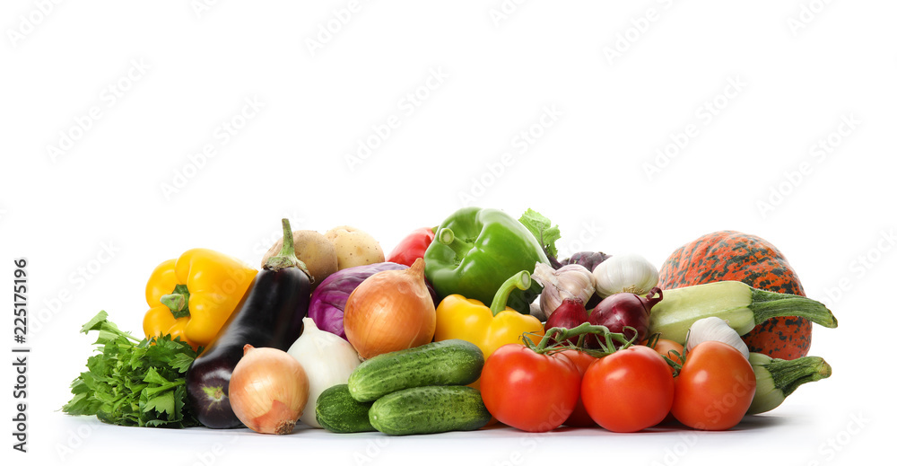 Heap of fresh ripe vegetables on white background. Organic food